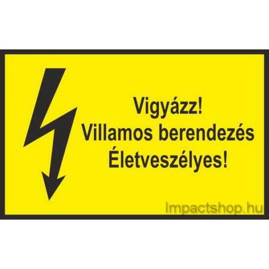 Vigyázz villamos berendezés életveszélyes (245x160 mm tábla)