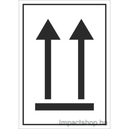 A nyíllal megegyező irányba állítandó (74x105 mm matrica)