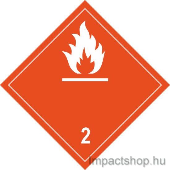 Gyúlékony gázok fehér felirattal (100x100 mm matrica)