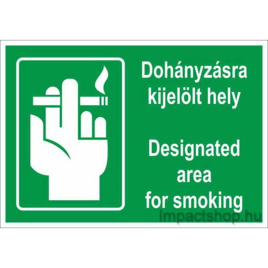 Dohányzásra kijelölt hely angol nyelven (250x160 mm tábla)