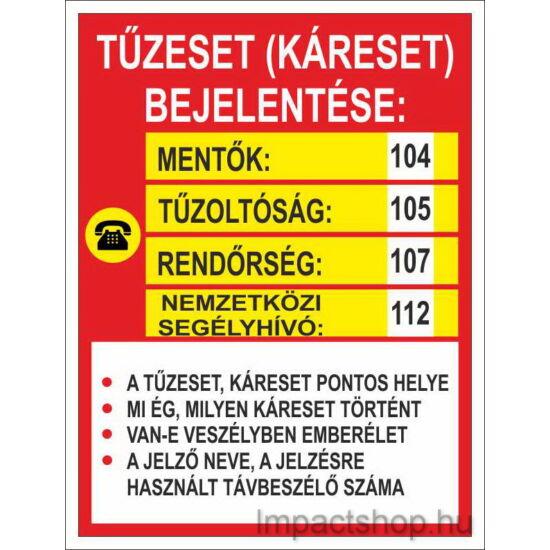 Tűz esetén (160x250 mm tábla)