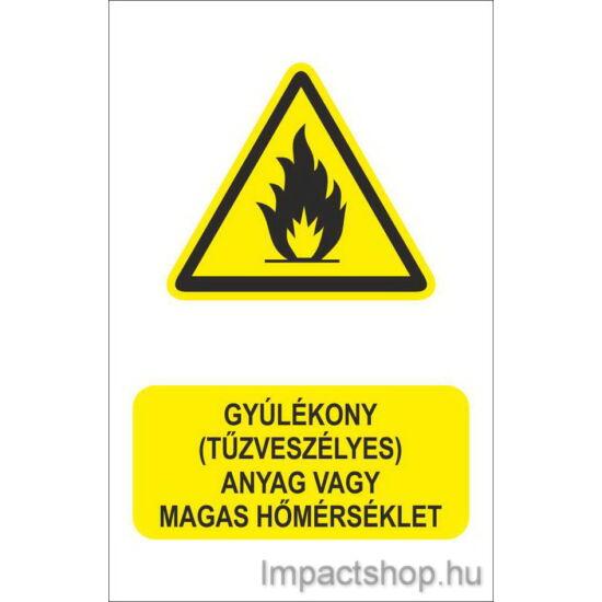 Gyúlékony tűzveszélyes anyag vagy magas hőmérséklet (160x250 mm matrica)