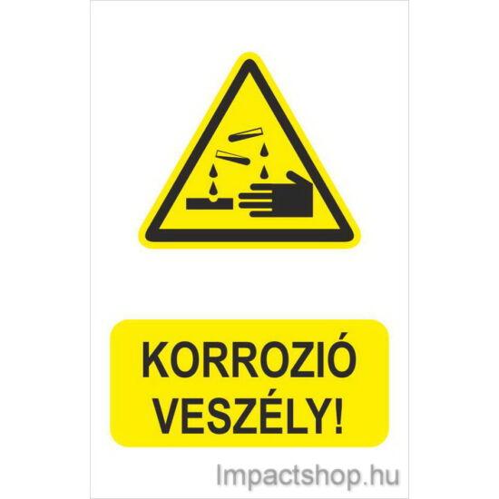 Korrozió veszély (160x250 mm tábla)