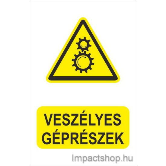 Veszélyes géprészek (160x250 mm tábla)