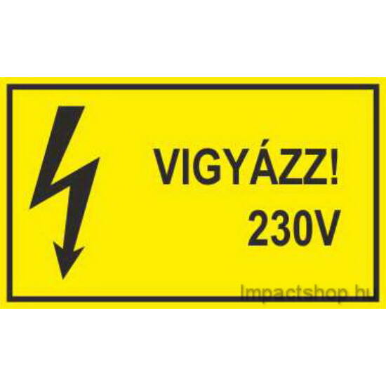 Vigyázz 230V (200x100 mm matrica)