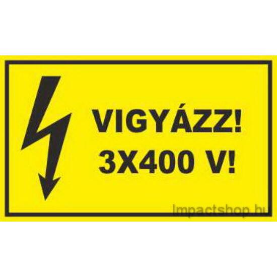 Vigyázz 3x400V (200x100 mm matrica)