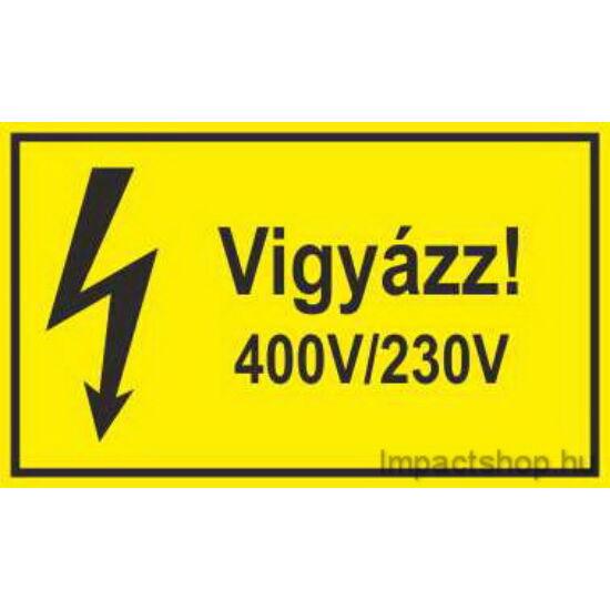 Vigyázz 400V 230V (200x100 mm matrica)