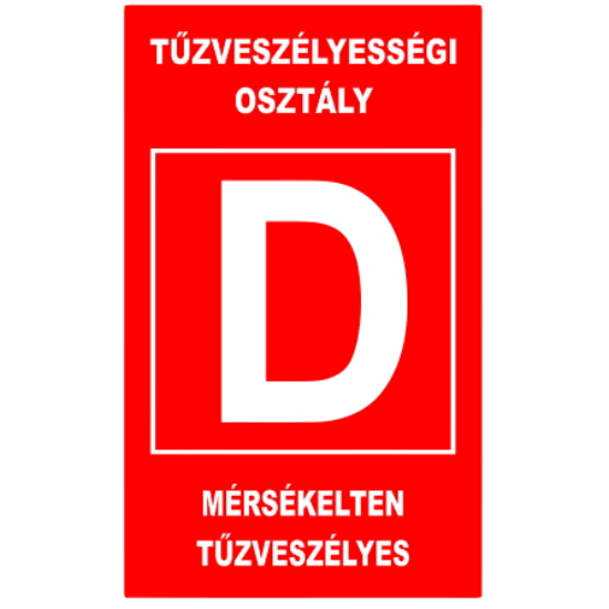 """""""D"""" tűzveszélyességi osztály (160x250 mm tábla)"""