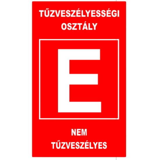 """""""E"""" tűzveszélyességi osztály (160x250 mm matrica)"""