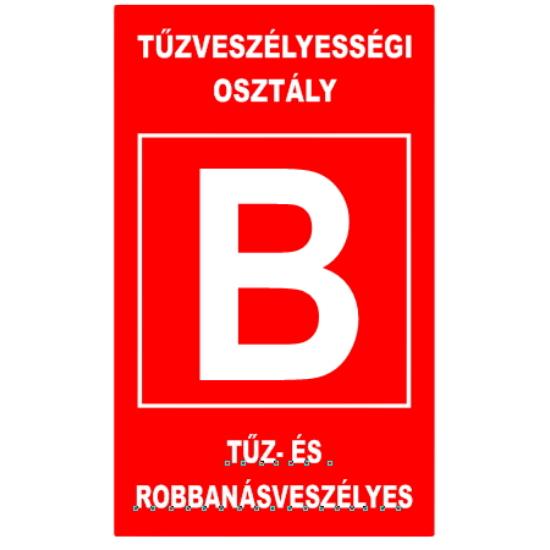 """""""B"""" tűzveszélyességi osztály (160x250 mm matrica)"""