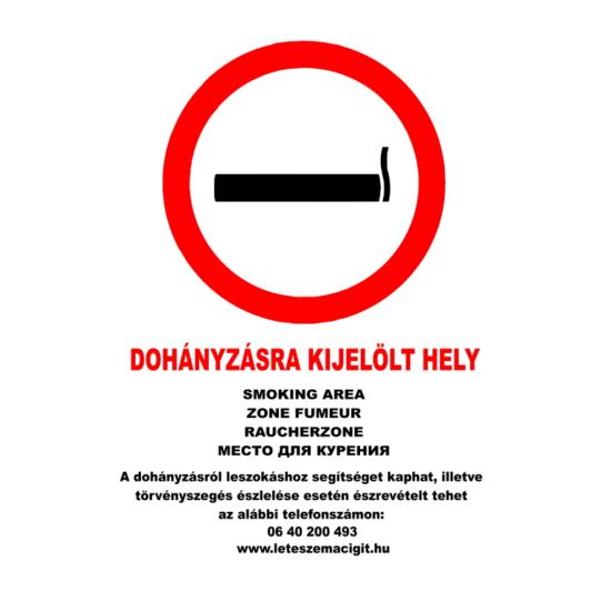 Dohányzásra kijelölt hely (öt nyelvű, A4 matrica)