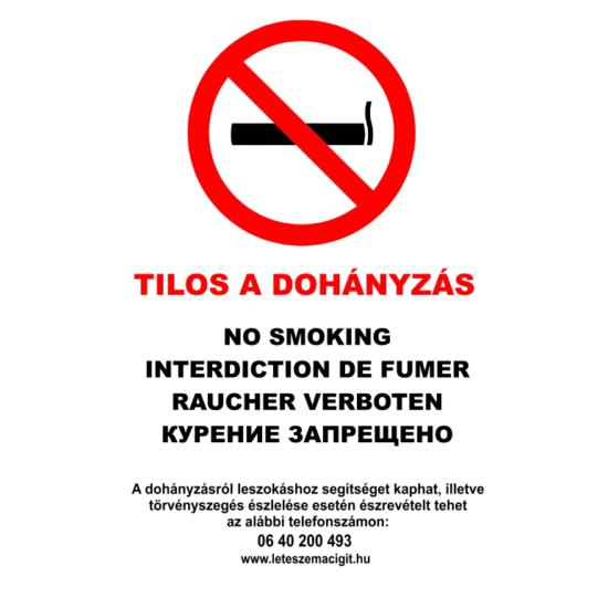 Tilos a dohányzás - (öt nyelvű, A4 - tábla)